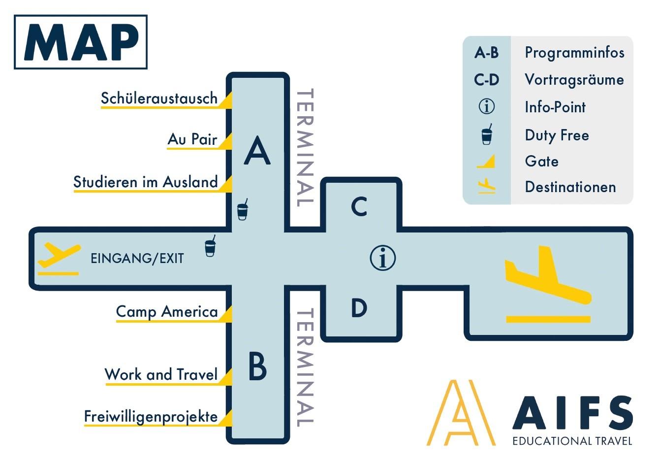 Flughafen Map - AIFS Büro - Schüleraustausch, Au Pair, Studieren im Ausland, Camp America, Work and Travel, Freiwilligenprojekte