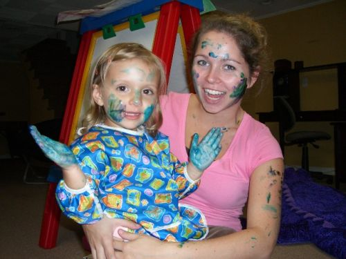 Paint on paper? Naah - borning! I'd rather look my Au Pair look funny.